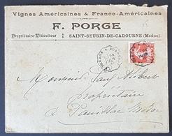 1910 Cover, Enveloppe De F.Porge Verdon Bordeaux Pour Pauillac Medoc, France, Republique Française - 1906-38 Semeuse Camée