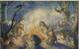BONFIRE NIGHT By Mommy Brett (Ecureuil Lapin Herisson Chouette Chauve Souri Blaireau) RV - Peintures & Tableaux