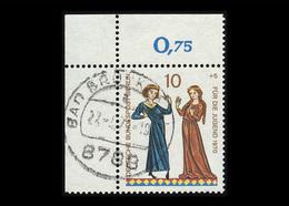 Berlin 1970, Michel-Nr. 354, Jugend 1970, Minnesänger, 10 Pf., Eckrand Oben Links, Gestempelt - Berlin (West)