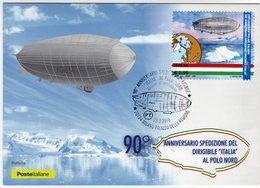 """Italia 2018 90° Anniv. Spedizione Dirigibile """"Italia"""" Al Polo Nord Esplorazioni Polari Cartolina FDC - Spedizioni Artiche"""