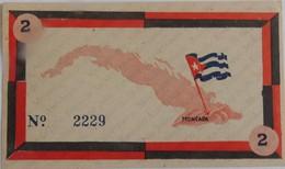 Très Rare Billet De 2 Pesos Contribution à La Révolution 1958 Signé Fidel Castro Neuf - Cuba
