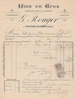 FONTENAY LE COMTE - VENDEE - VINS EN GROS - G. ROUGER - France