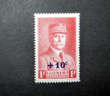 FRANCE 1941 N°494 ** (MARÉCHAL PÉTAIN. 10C SUR 1F ROUGE) - 1941-42 Pétain