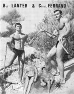 PHOTO   HOMME EN MAILLOT DE BAIN CULTURISME CULTURISTE BUD LANTER ET CHRIST FERRAND  PHOTO FERRERO 27 X 22 CM - Sport