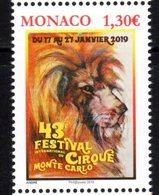 MONACO, 2019, MNH, CIRCUS, 43rd MONTE CARLO CIRCUS  FESTIVAL , LIONS,  1v - Circus