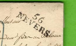 """1828 LAC MARQUE POSTALE """"56 NEVERS"""" (Dural Père) Pour Sedan (Legardeur Frères Succ. De Louis Labauche & Fils) V.SCANS - Postmark Collection (Covers)"""
