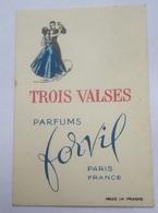 Carte Parfumée Parfum FORVIL Trois Valses Belle Illustration D'un Couple Dansant - Anciennes (jusque 1960)