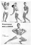 PHOTO  HOMME EN MAILLOT DE BAIN CULTURISTE CULTURISME RAYMOND BELLONNE  PHOTO DEMEILLES 29 X 20 CM - Sport