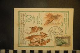 CP, Representation De Timbre, Journée Nationale Du Timbre 1954 Comte De La Valette Directeur Des Postes 1804 1815  VICHY - Timbres (représentations)