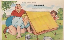 Ardèche : AUBENAS : à Système Dépliant : 10  Vues : Grosse Femme Et Sa Tente ( C.p.s.m. - Photo. Vérit. ) - Aubenas