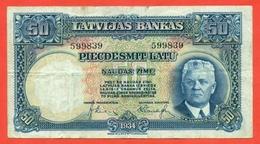 Latvia 1934. 50 Lats. VF+. - Latvia