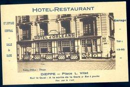 Cpa Du 76  Dieppe Hotel Restaurant Hôtel D' Orléans Place L. Vitet Sur Le Quai à La Sortie De La Gare   ACH15 - Dieppe