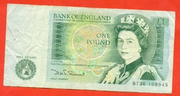 """England 1981. One Pound. """"Somerset"""" VF. - Banknotes"""