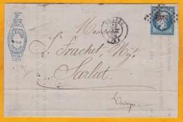 1859 - Lettre Facture Pliée Avec Illustration Commerciale Et Correspondance De Grasse, Var Vers Sarlat, Dordogne - - 1849-1876: Periodo Classico