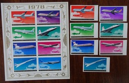 #A44# MICHEL 1781/1787 IMPERFORATED+ 1781/1788 IMPERF. IN SHEETLET MNH**, AIRPLANE, AVION, CONCORDE. - Corea Del Norte