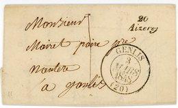 Lettre Avec Correspondance D'Aizerey (Aiserey) (20) Du 2 Mars 1848 Pour Genlis (Côte D'Or) - Postmark Collection (Covers)