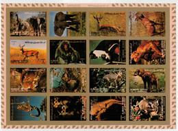 AJMAN   1973     SHEET  15,6X20     FAUNA    MAMMALS       MNH**  IMPERFORATED - Ajman