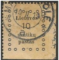 Lothuania - 1919 Kaunas Issue 10s Used  Sc 9 - Lithuania