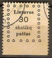 Lithuania - 1919 Kaunas Issue) 30s Used  SG 12;  Mi 12;  Sc 12 - Lithuania