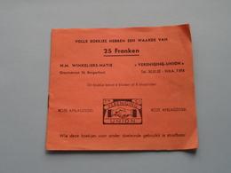 """N.M. WIKELIERS-NATIE """" VERENIGING-UNION """" Gravinstraat BORGERHOUT ( Met Afslagzegels / Niet VOL ) ! - Seals Of Generality"""