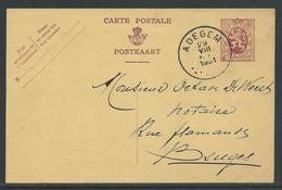 PWST Carte Postale 40 C Verstuurd Uit Adegem 29.8.1931 Naar Bruges - Entiers Postaux