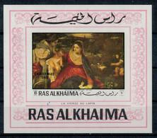 RAS  AL  KHAIMA   1970     CHRISTMAS   1969   LA  VIERGE  AU  LAPIN      MNH**  IMPERFORATED - Ajman