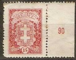 Lithuania - 1927 Lithuanian Cross No W/mark 15c MLH *   SG 279;   Sc 214 - Lithuania