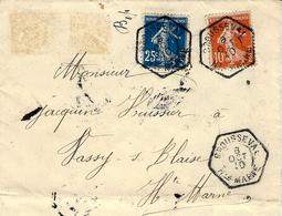1910- Enveloppe RECC.  Affr. à 35 C Oblit. Cad Hexagone. Plein De R A R  De BROUSSEVAL  / Hte Marne - Poststempel (Briefe)