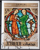 Ajman 1971 Mi. 771 Segni Zodiaco Gemelli Gemini - Stainled Glass Window Vetrata Notre Dame Imperf. Zodiac - Astrologia