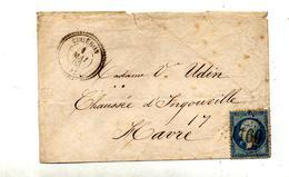 Lettre Cachet Losange 1160 Gouenon  Sur Napoleon + Le Havre + Convoyeur - Storia Postale