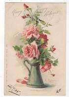 C Klein Pink Roses In Green Jug 1905 Art Postcard FlowersTuck Birthday Series 2002 - Klein, Catharina