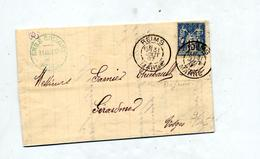 Lettre Cachet Reims Sur Sage + Gerardmer - 1849-1876: Période Classique