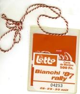 Carte De Membre Du BIANCHI '87 Rally ( Publicité LOTTO Et Pochette COCA-COLA D'époque  )  RARE - Trading Cards