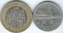 Macau - Portuguese - 1992 - 1 Pataca (KM56) & 1997 - 10 Patacas (KM83) - Macao