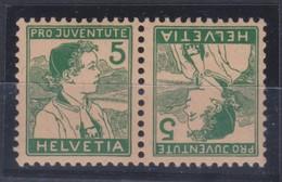 SUISSE 1915:  Tête-bêche Du 5c Vert Pro Juventute (ZNr K11)  Neuf ** Forte Cote   LUXE !!! - Se-Tenant