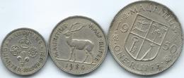Mauritius - 1951 - George VI - ¼ Rupee - 1951 - KM27; 1950 - ½ Rupee - KM28 & 1950 - 1 Rupee - KM29 - Mauritius