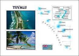 Tuvalu Country Map New Postcard Landkarte AK - Tuvalu