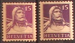 Schweiz Suisse Tell 1914/18: Zu 128+128c Mi 120+120c Yv 140 (violet & Violet-noir) * MLH (Zu CHF 119.00 -50%) - Nuovi