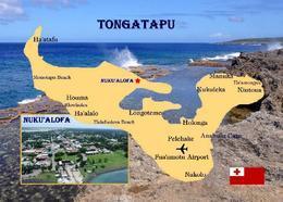 Tonga Tongatapu Island Map New Postcard Landkarte AK - Tonga