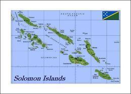 AK Salomonen Landkarte Solomon Islands Map New Postcard - Islas Salomon