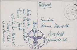 Feldpost Ersatz-Batl. I.R. 78 / 4. MG-Kp. AK Wesel, Stempel 12.2.41 Nach Krefeld - Besetzungen 1938-45