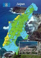 Northern Mariana Islands Saipan Island Map New Postcard - Mariannes