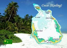 AK Landkarte Cocos (Keeling) Islands Map New Postcard - Kokosinseln (Keeling Islands)