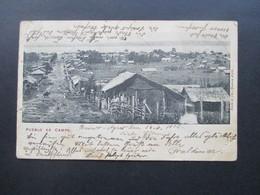 Argentinien 1902 AK Pueblo De Campo 5 Farben Frankatur Mit 8 Marken Nach Danzig Gesendet Mit Ak Stempel - Argentinien