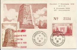 1938 - N° 403 Oblitéré (o) Sur Carte Commémorative Numérotée HAUDROY - 06/11/38 - France