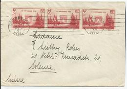 1938 - N° 403 (BANDE DE 3) Oblitérés (o) Sur Lettre Vers La Suisse - RRR - France