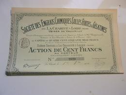 ENGRAIS CHIMIQUES,COLLES FORTES & GELATINES (1901) LA CHARITE,NIEVRE - Azioni & Titoli