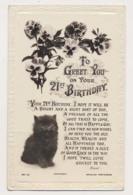 AK28 Greetings - 21st Birthday, Cat, Flowers - Birthday