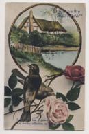 AK28 Birthday Greetings - Cottage, Birds, Roses - Birthday