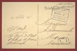 Treinstempel Venlo - Rotterdam 1914 Portvrije Kaart Militair - Poststempel